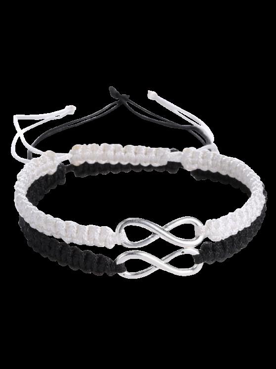 Infinity Tissé Bracelets - Blanc et Noir