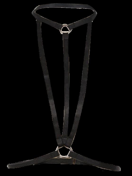Bra Bondage Harness Geometric Body Jewelry - BLACK  Mobile