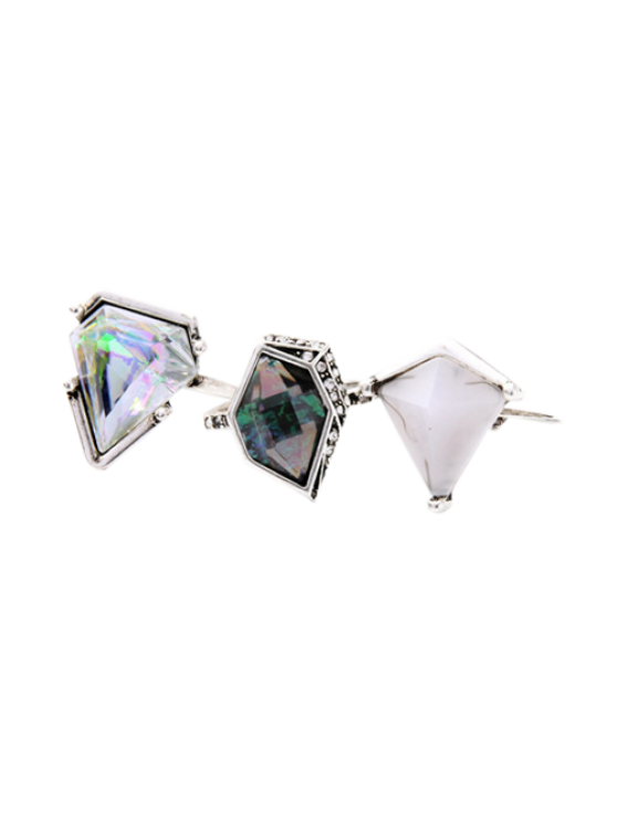 Geometric Faux Gem Ring Set - SILVER  Mobile