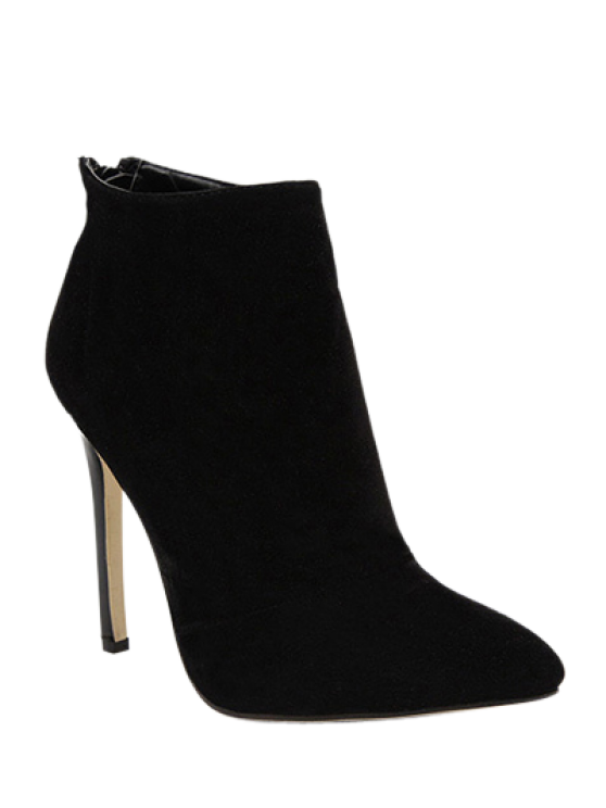 shops Pointed Tie Flock Zipper Ankle Boots - BLACK 39