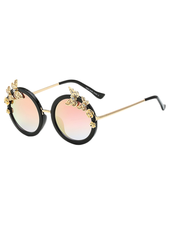 Butterfly Oval Mirrored Sunglasses - PINK  Mobile