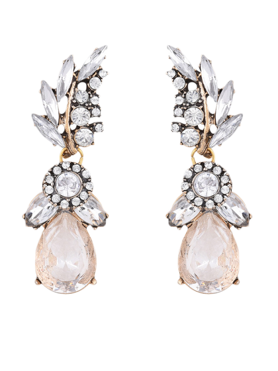 best Water Drop Leaf Rhinestone Earrings - WHITE
