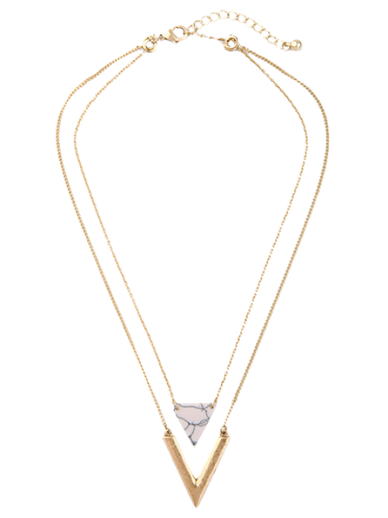 Triangle Stone Layered Necklace - GOLDEN  Mobile