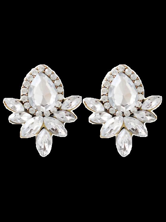 new Water Drop Rhinestone Artificial Crystal Earrings - WHITE