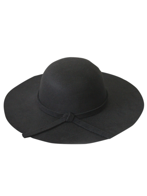 women Solid Color Felt Floppy Hat - BLACK