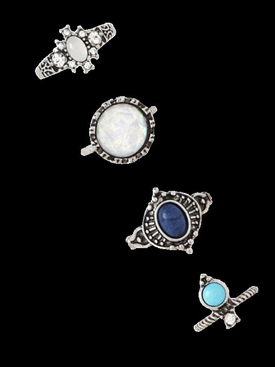 4 PCS de imitación de la gema de los anillos retros - Plata
