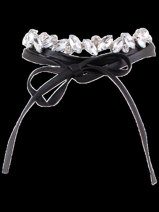 De diamantes de imitación con cordones de la PU Gargantillas - Negro