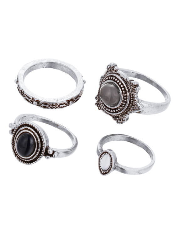 fancy Fake Gem Embossed Rings - SILVER
