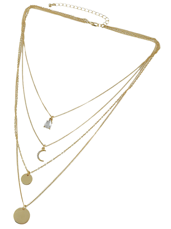Rhinestone Moon Multilayered Necklace - GOLDEN  Mobile