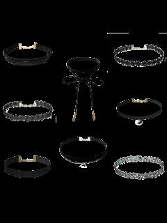 Choker Necklaces Set - Black