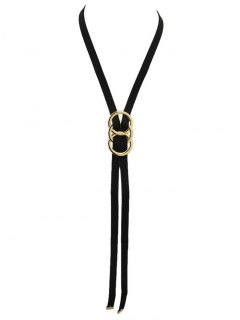 Velvet Overlapping Buckle Necklace - Black