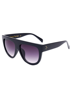 بسيطة كامل حافة النظارات الشمسية السوداء - أسود