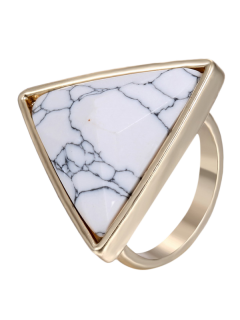 Triangle Faux Rammel Ring - White One-size