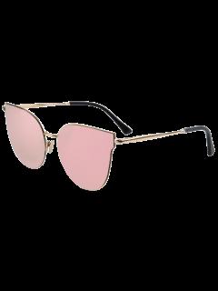 Street Fashion Golden-Rim Cat Eye Sunglasses - Pink