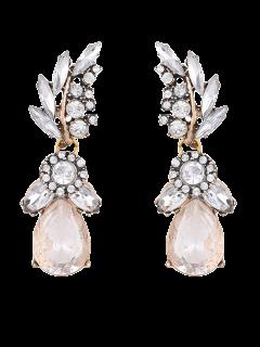 Water Drop Leaf Rhinestone Earrings - White