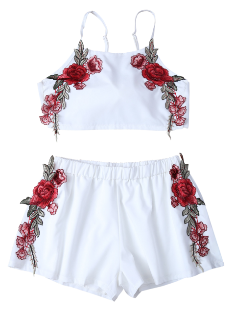 women Embroidered Bowknot Top with Shorts - WHITE M Mobile