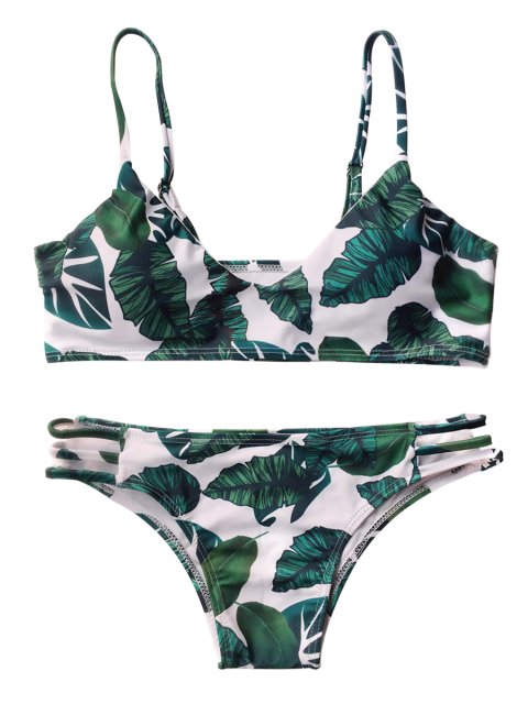 women Palm Leaf Side Strap Bkini - WHITE AND GREEN M Mobile