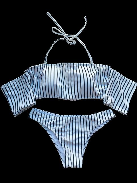 buy Off The Shoulder Strappy Striped Bikini Set - WHITE S Mobile