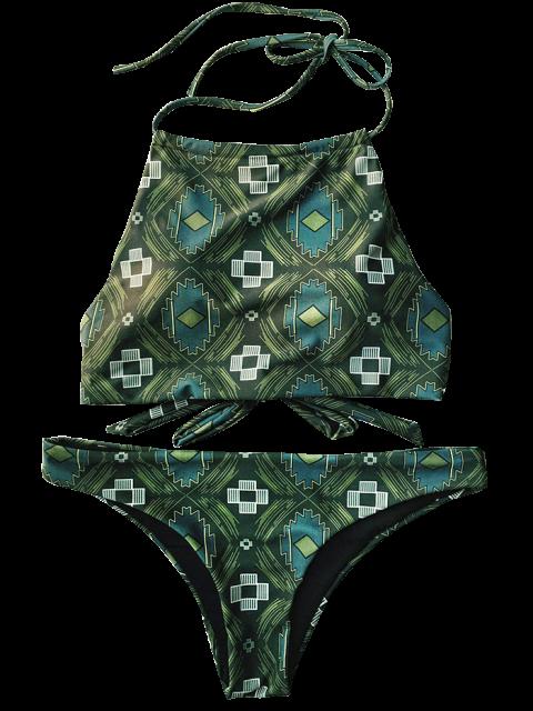 hot Tile Print High Neck Bikini - OLIVE GREEN L Mobile