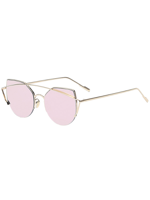 outfit Gold Crossbar Cat Eye Mirrored Sunglasses - PINK  Mobile