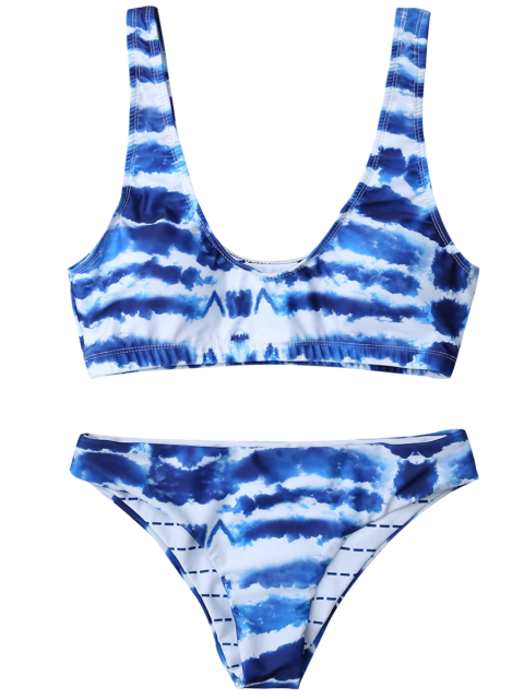 hot U Neck Tie Dyed Cute Bathing Suit - BLUE AND WHITE L Mobile