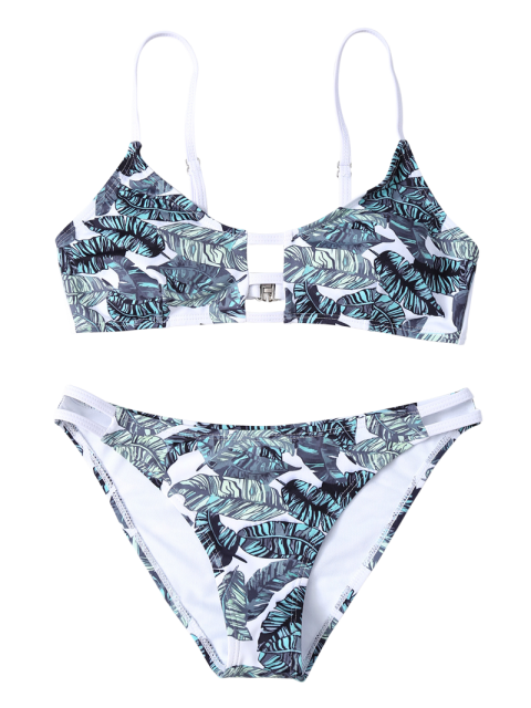 trendy Hollow Out Leaves Print Bikini Set - COLORMIX M Mobile