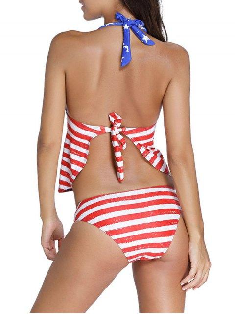 ladies American Flag Print Patriotic Halter Tankini Set - BLUE AND RED 2XL Mobile