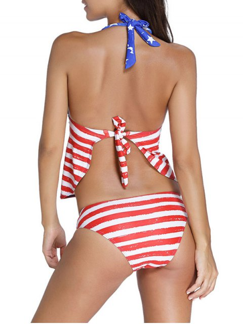 new American Flag Print Patriotic Halter Tankini Set - BLUE AND RED S Mobile