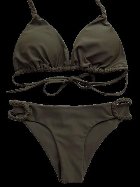 hot Braided Low Cut Halter Bikini - ARMY GREEN M Mobile