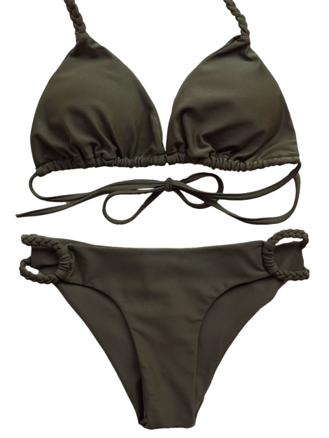 outfit Braided Low Cut Halter Bikini - ARMY GREEN S Mobile