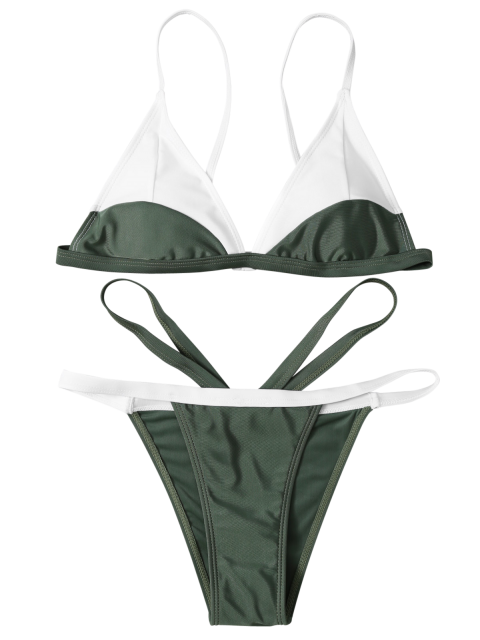 affordable High Cut Color Block Bathing Suit - ARMY GREEN L Mobile
