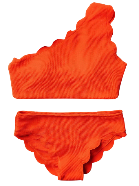 best Wireless Scalloped One Shoulder Bathing Suit - ORANGE RED S Mobile