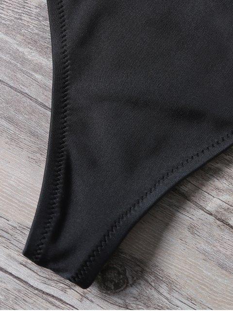 unique High Leg Sequins Bralette Swimsuits - BLACK M Mobile