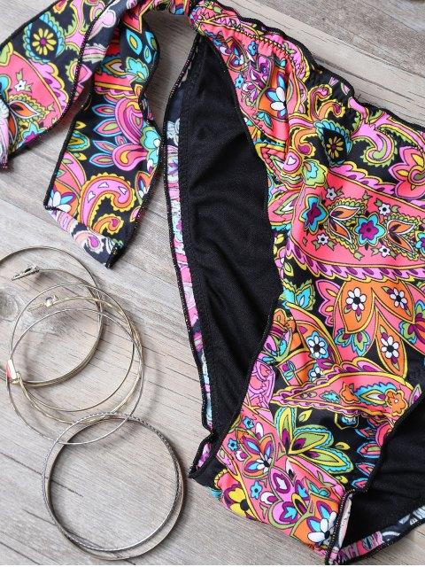 shop Print Splicing Strapless Bikini Set - RED WITH BLACK M Mobile