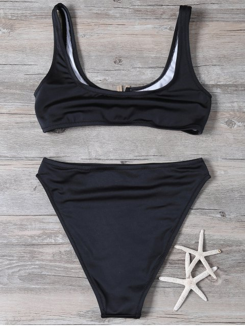 shops Patched High Waisted Bikini Set - BLACK S Mobile
