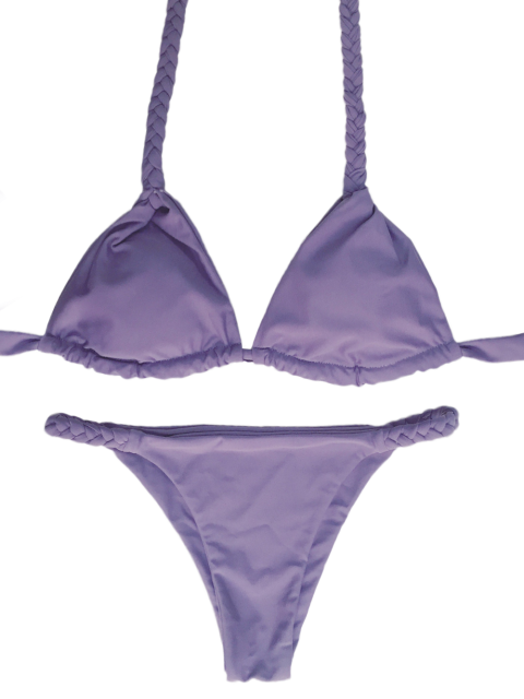 outfits High Leg Knitted Bikini Set - PURPLE S Mobile