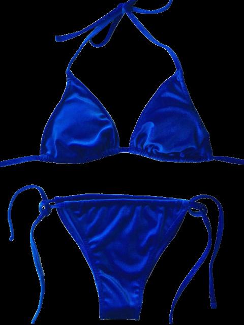 hot Velvet String Bikini Swimwear - BLUE M Mobile