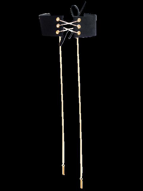 fancy Velvet Lace Up Choker - BLACK  Mobile
