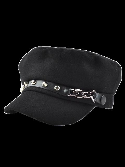 shops Rivet PU Belt Felt Newsboy Hat - BLACK  Mobile