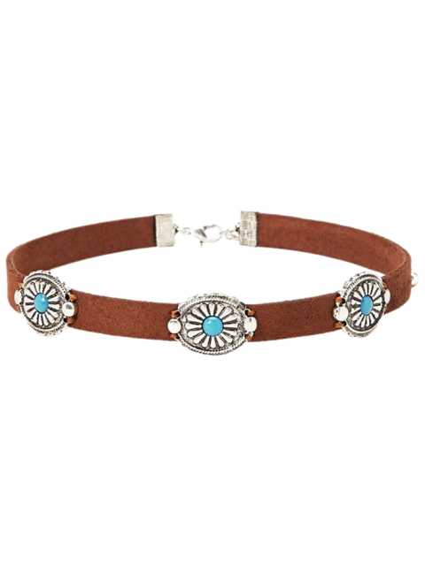 hot Faux Leather Blossom Choker - BROWN  Mobile