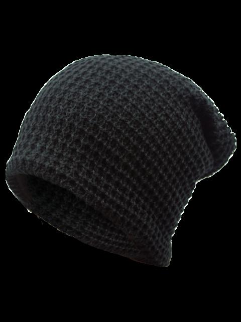best Openwork Weaving Double-Deck Knit Beanie - BLACK  Mobile