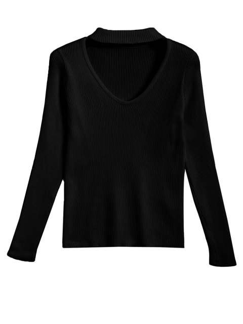 buy Ribbed Cut Out Choker Jumper - BLACK S Mobile