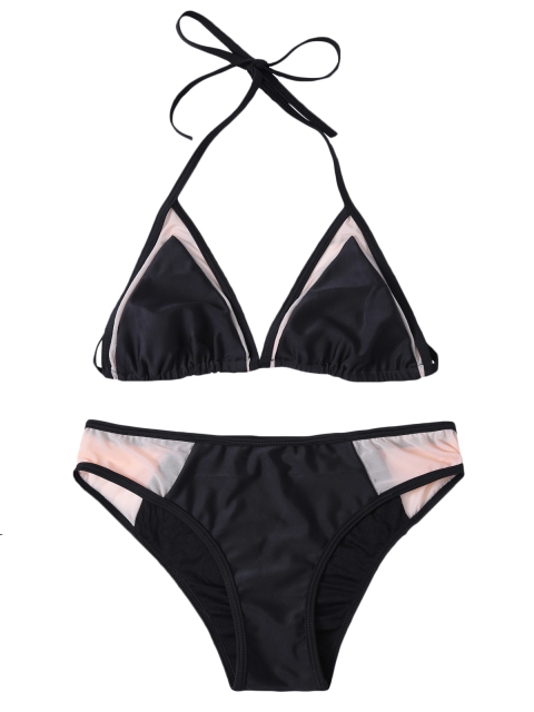 women Mesh Panel Halter Swimsuit - BLACK L Mobile