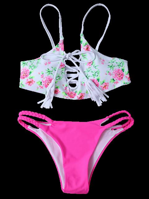 buy Lace-Up Floral Bikini Set - WHITE L Mobile