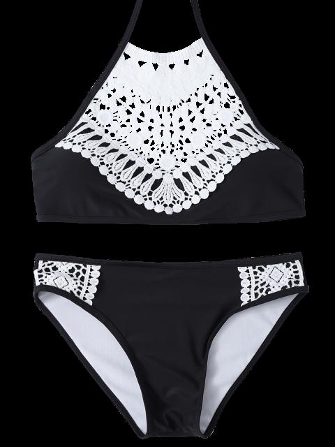 affordable Crochet Trim High Neck Bikini - BLACK M Mobile