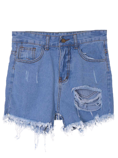 women's Solid Color Broken Hole High-Waist Denim Shorts - LIGHT BLUE M Mobile