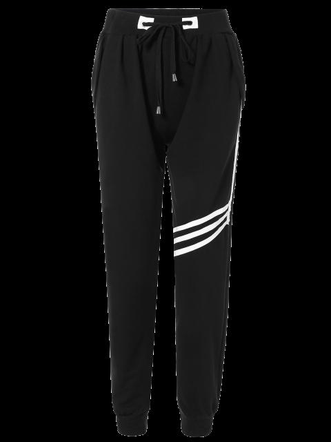 online Striped Drawstring Sweatpants - BLACK ONE SIZE Mobile