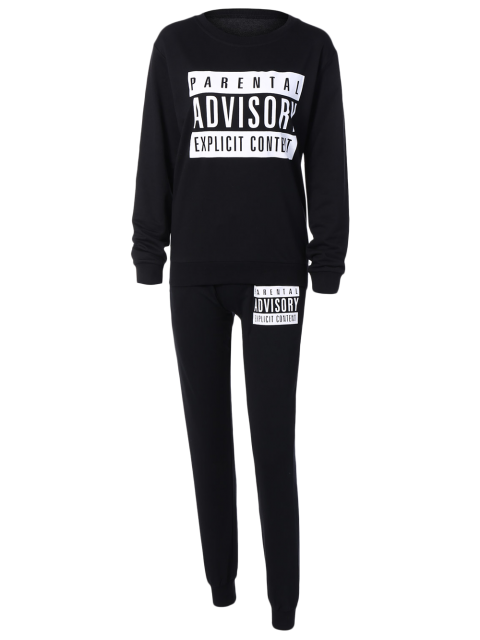 outfits Letter Sweatshirt and Drawstring Sports Pants - BLACK S Mobile