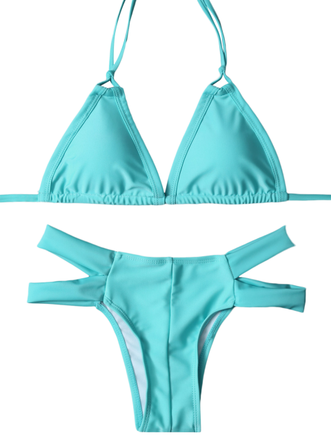 outfits Halter Cut Out Padded Bikini - LAKE GREEN L Mobile