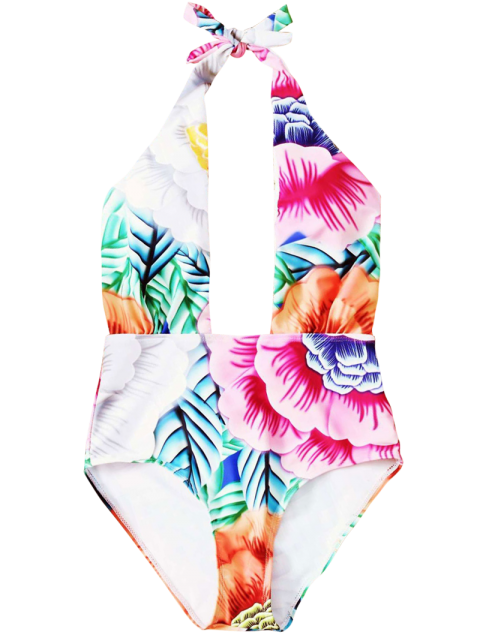 shop Cut Out Printed Halter One-Piece Swimwear - PINK M Mobile